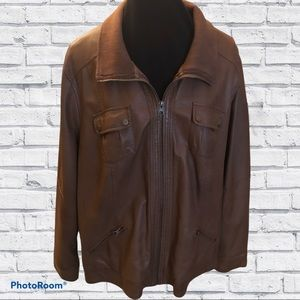 Brown Faux Leather Zip up Jacket 3X